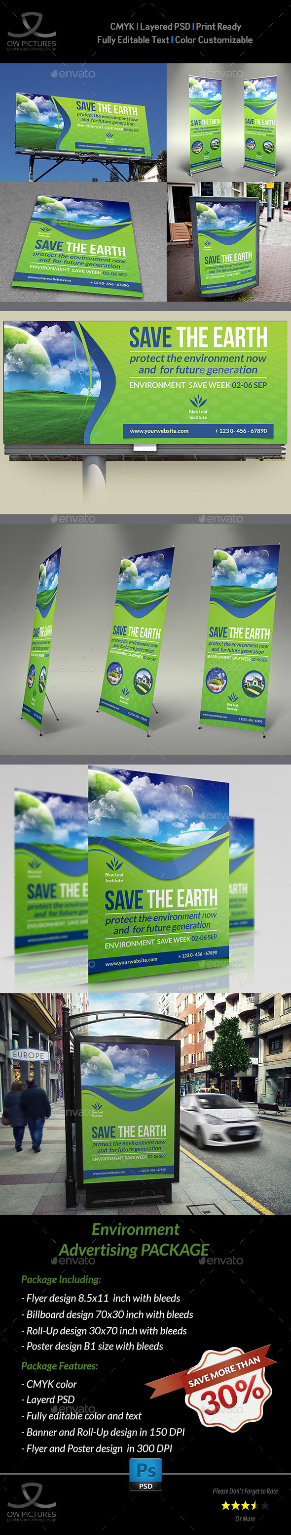 Environment  ECO Advertising Bundle - Signage Print Templates