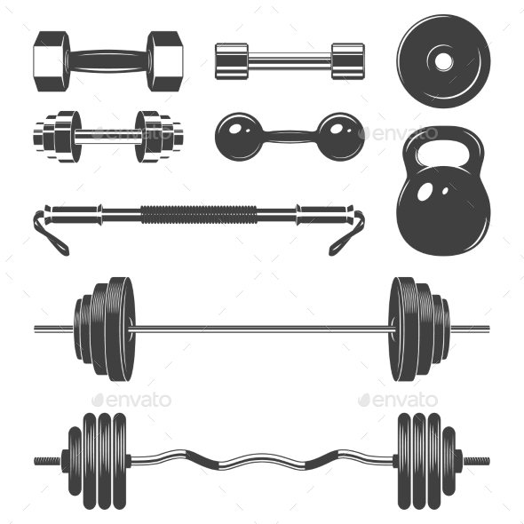 Set Of Sign Weights For Fitness Or Gym Design - Sports/Activity Conceptual