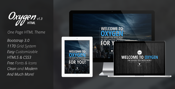 Oxygen One Page Parallax Theme - Creative Site Templates