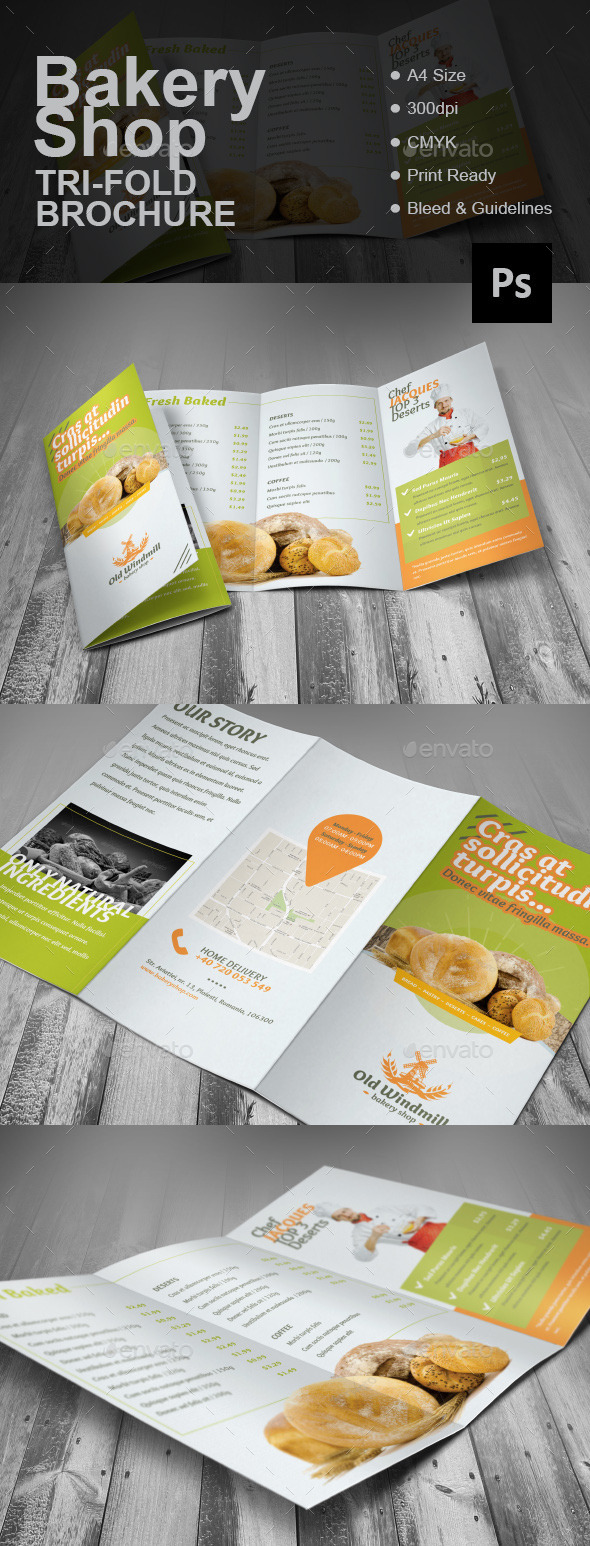 Bakery Shop Tri-fold Brochure - Brochures Print Templates