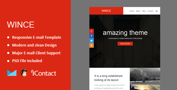 Wince - Responsive E-mail Template + Themebuilder Access  - Email Templates Marketing