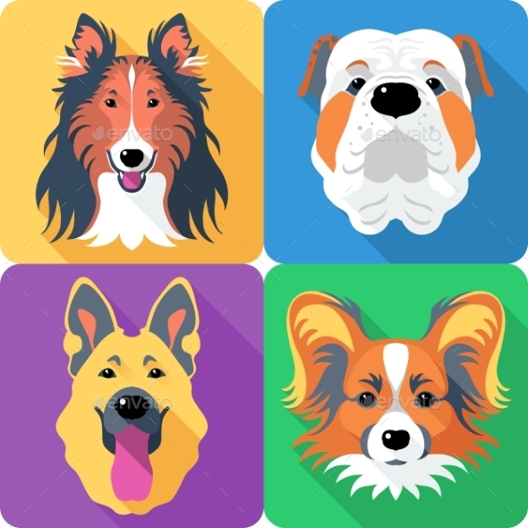 Set Dog Head Icon Flat Design  - Animals Characters