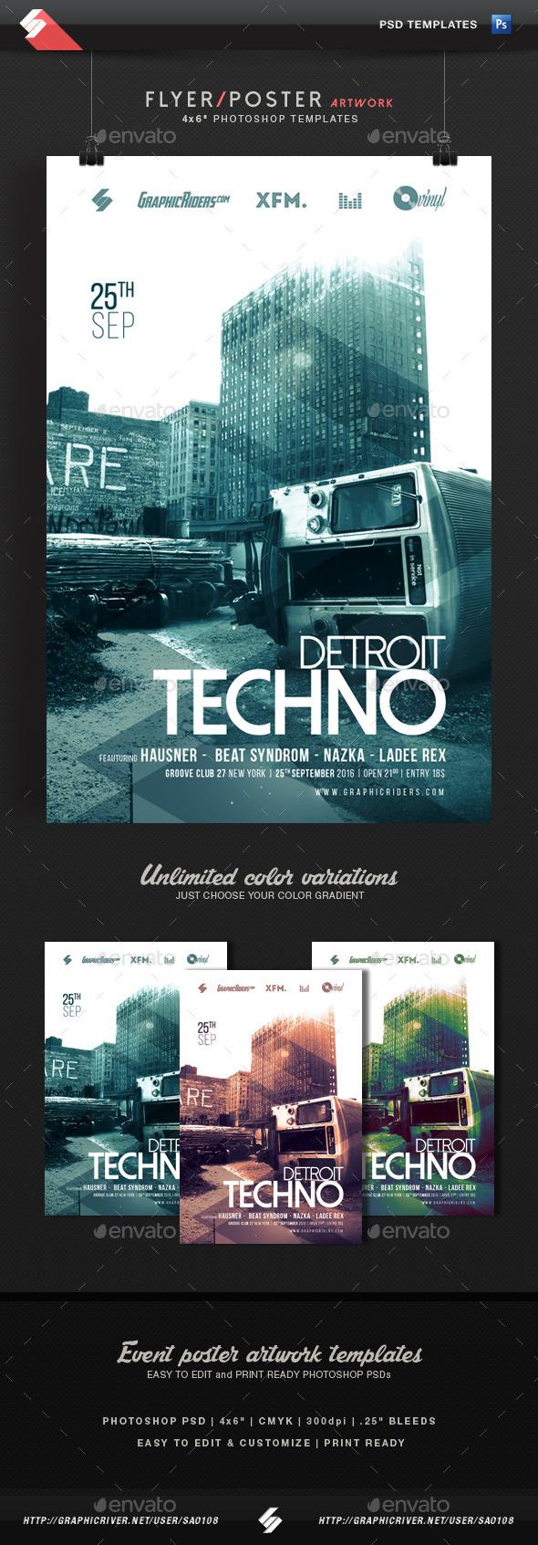 Detroit Techno - Event Flyer Template - Clubs & Parties Events