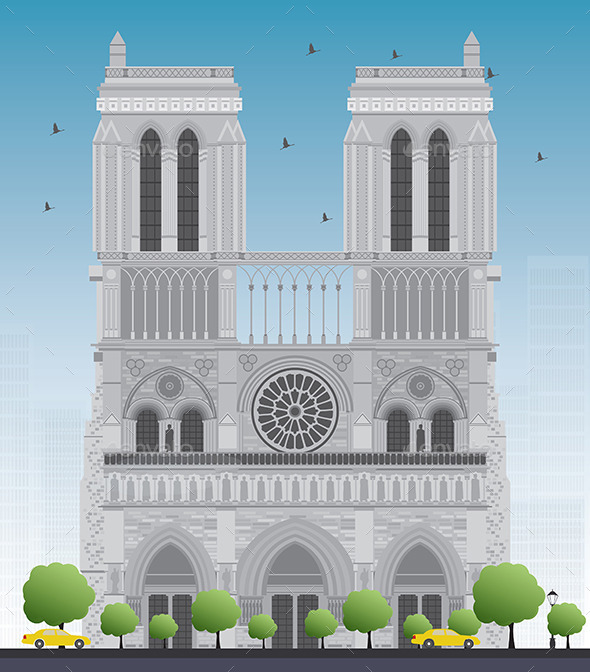 Notre Dame Cathedral in Paris  - Buildings Objects