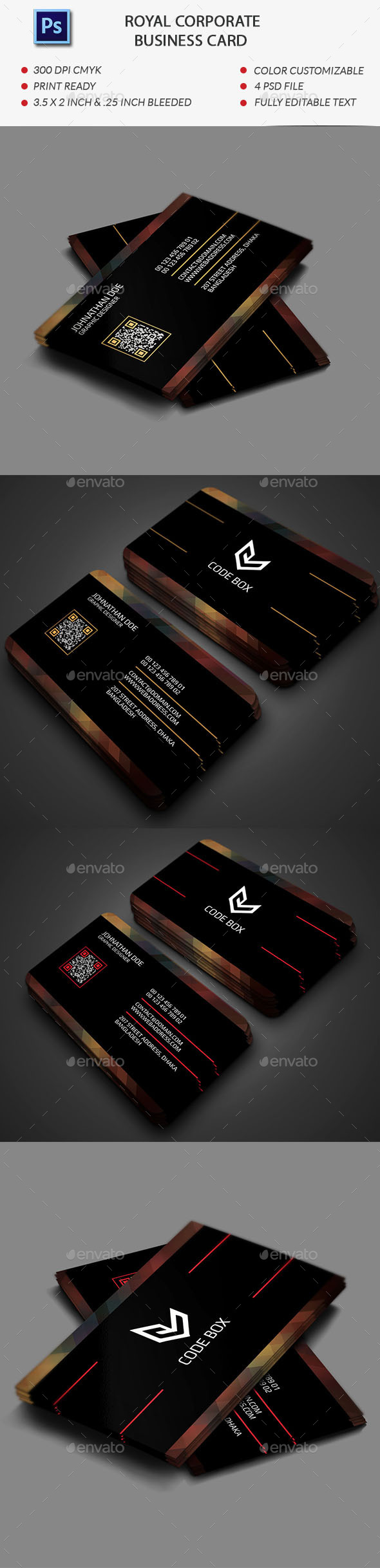 Royal Corporate Business Card Template - Business Cards Print Templates