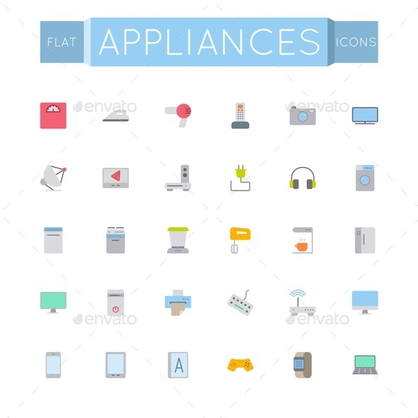 Flat Appliances Icons - Man-made Objects Objects