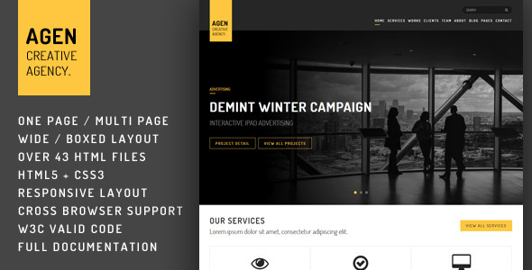 AGEN - One Page / Multi Page Responsive Template - Creative Site Templates