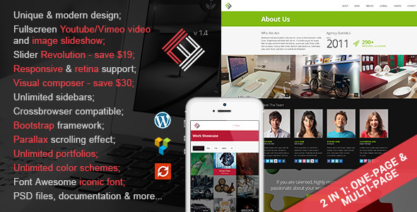 Loft Studio –  2 in 1 Parallax WordPress Theme