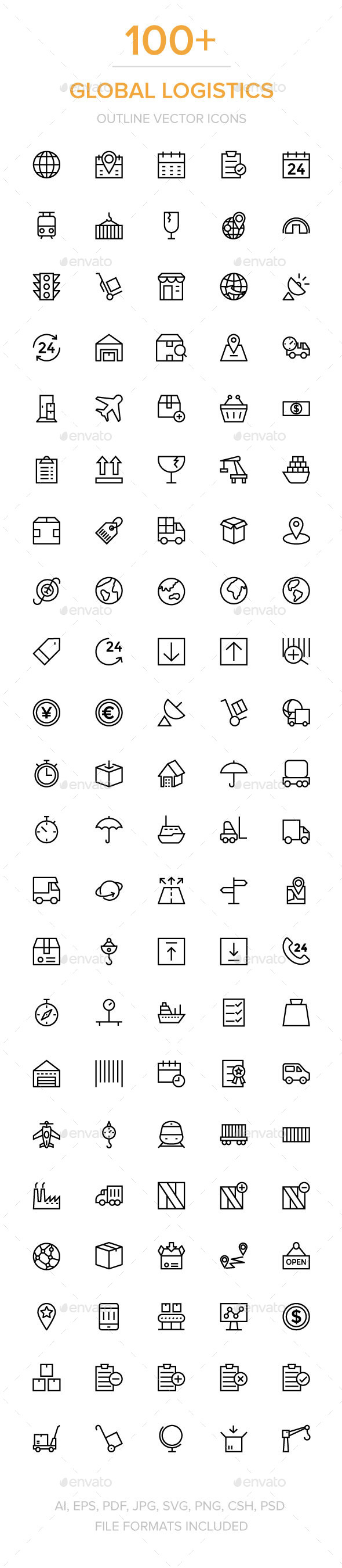 100+ Global Logistics Vector Icons - Icons