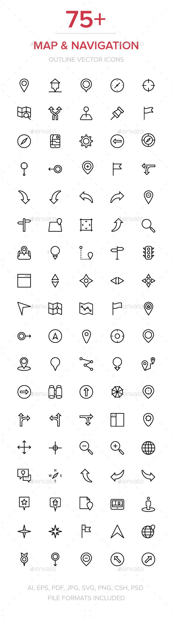 75+ Navigation Vector Icons - Technology Icons