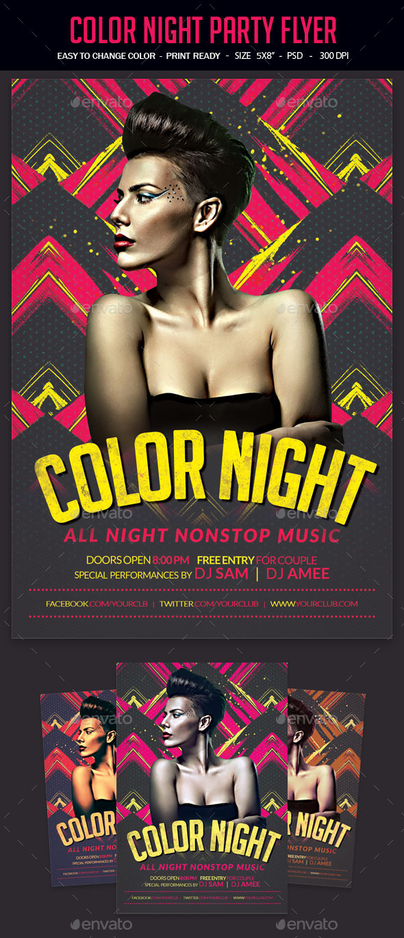 Color Night Party Flyer - Clubs & Parties Events