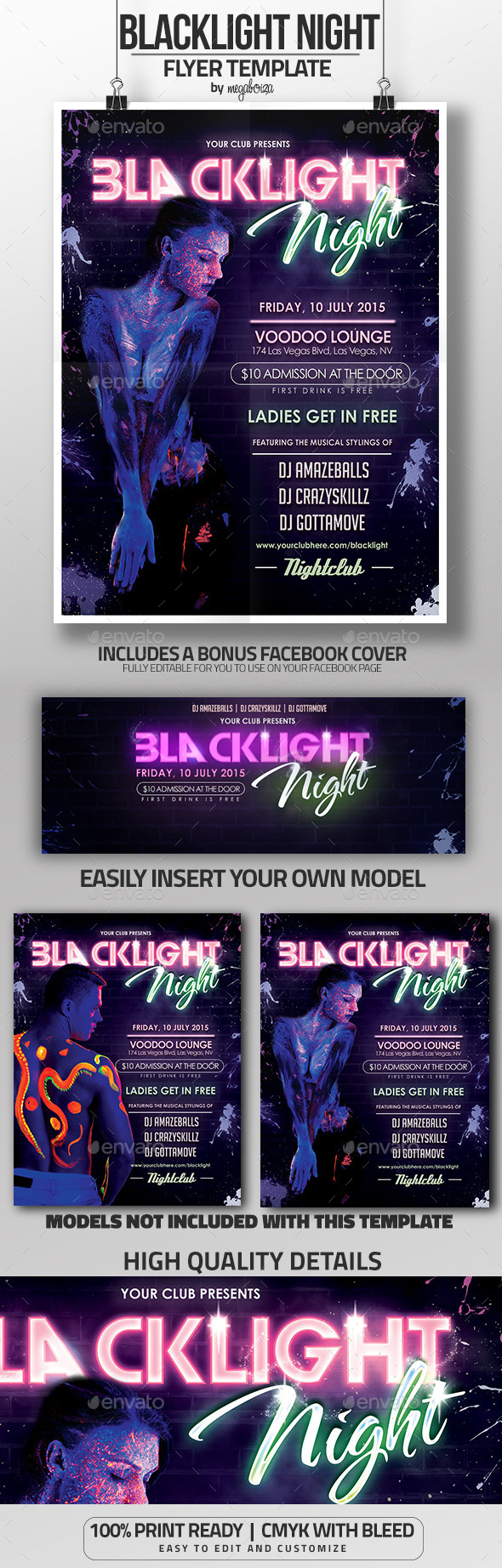 Blacklight Night / Glow in the Dark Flyer - Clubs & Parties Events