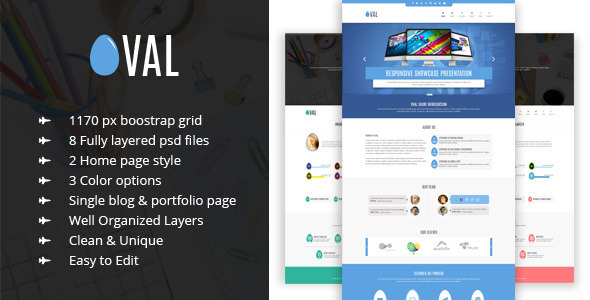 Oval – Creative OnePage PSD Template