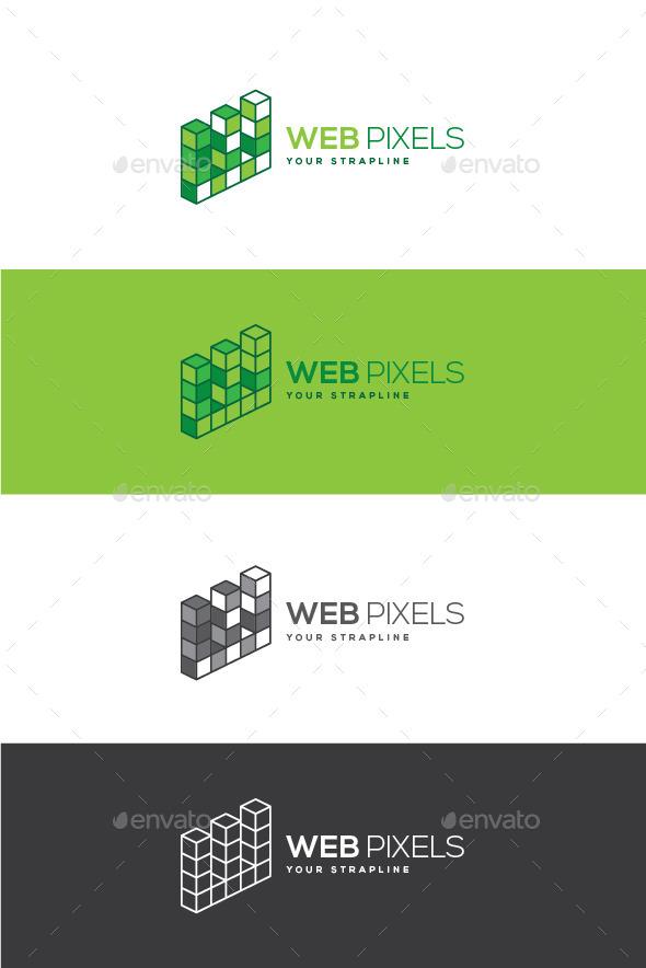 Web Pixels Letter W Logo - Letters Logo Templates