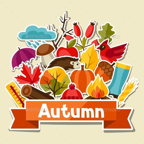 Background Design with Autumn Sticker Icon - Seasons Nature