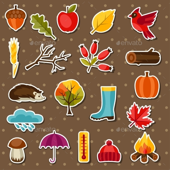 Autumn Sticker Icon and Objects Set for Design - Seasons Nature