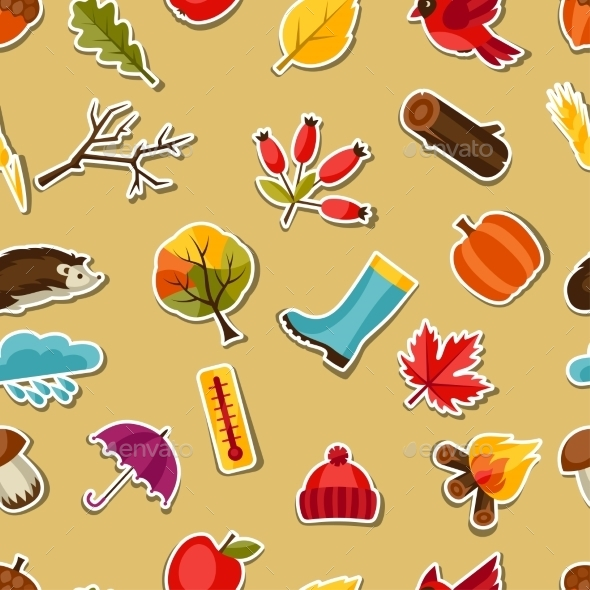Seamless Pattern eith Autumn Sticker Icons - Seasons Nature