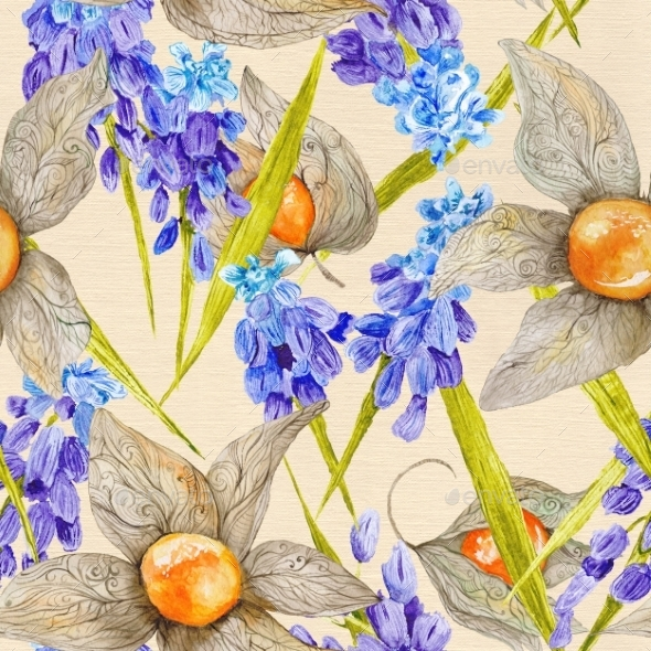 Provence Watercolor Pattern With Muskari - Backgrounds Decorative