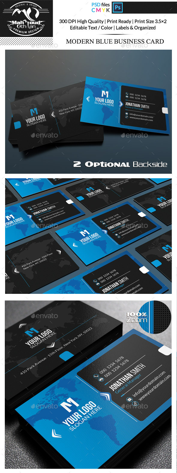 Modern Blue Business Card - Corporate Business Cards