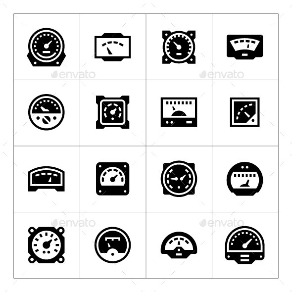 Set Icons of Meter - Man-made objects Objects