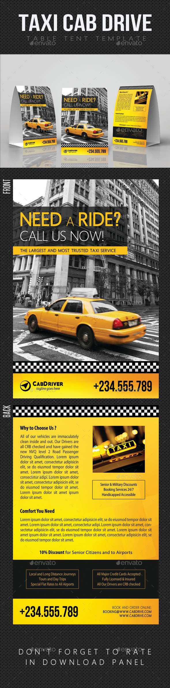 Taxi Cab Drive Table Tent V01 - Miscellaneous Print Templates