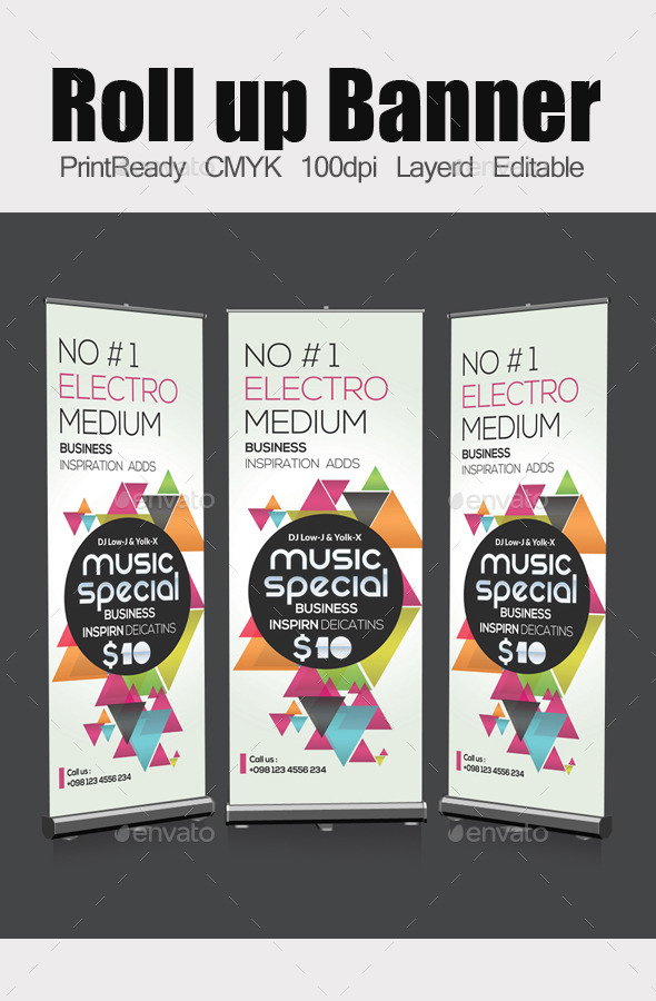Electro Futuristic Roll Up Banners Template - Signage Print Templates