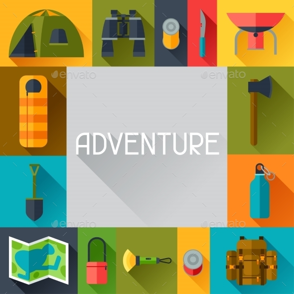 Tourist Background with Camping Equipment - Travel Conceptual