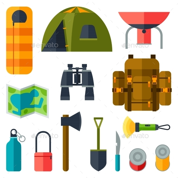 Tourist Set of Camping Equipment Icons - Travel Conceptual