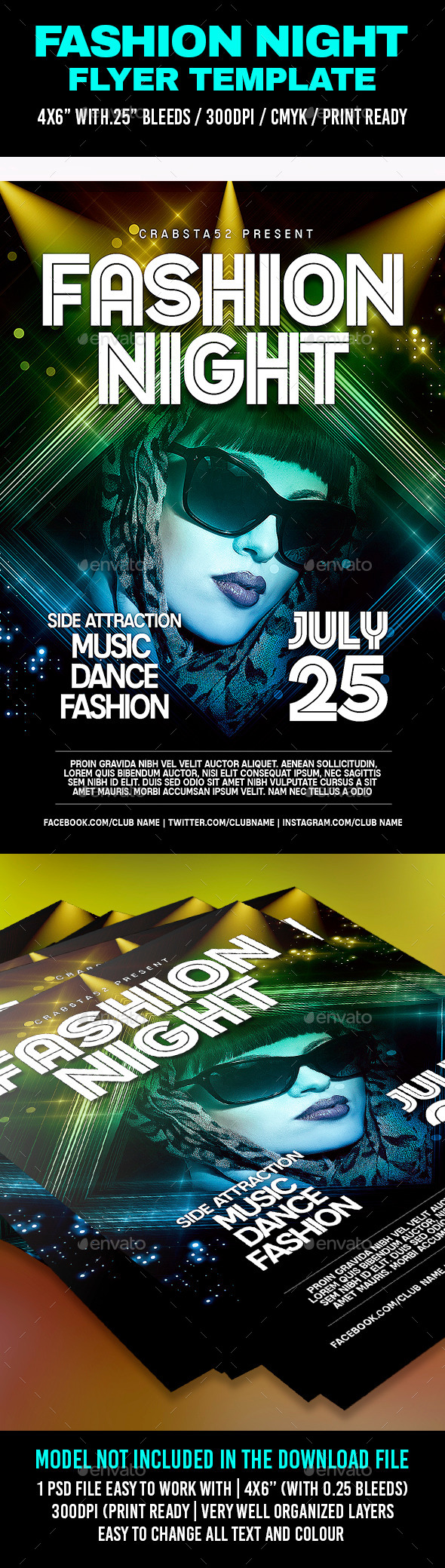 Fashion Night Flyer Template  - Clubs & Parties Events