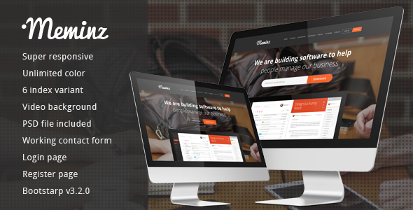 Meminz Download Software Landing Page