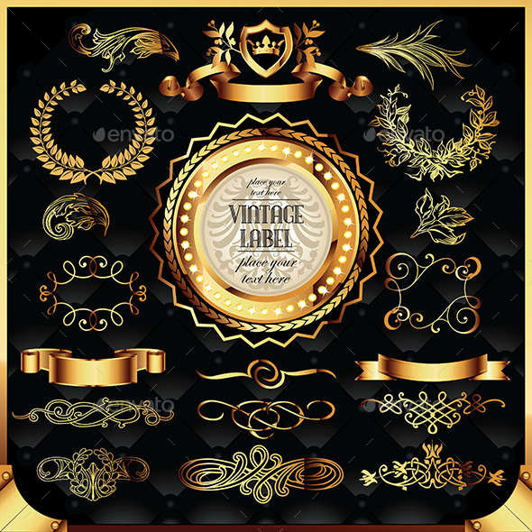 Set of Golden Labels and Ornaments - Flourishes / Swirls Decorative