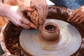 Hands working on pottery wheel - PhotoDune Item for Sale