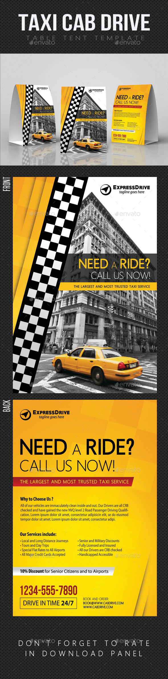 Taxi Cab Drive Table Tent V02 - Miscellaneous Print Templates