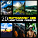 20 Photography HDR lightroom presets - GraphicRiver Item for Sale