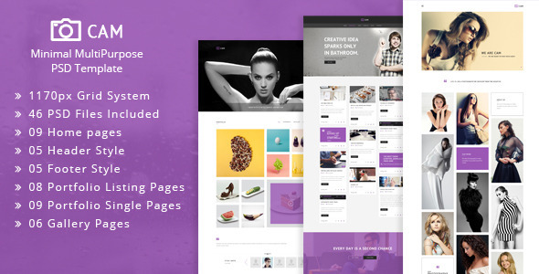 CAM | Minimal MultiPurpose PSD Template - Creative PSD Templates