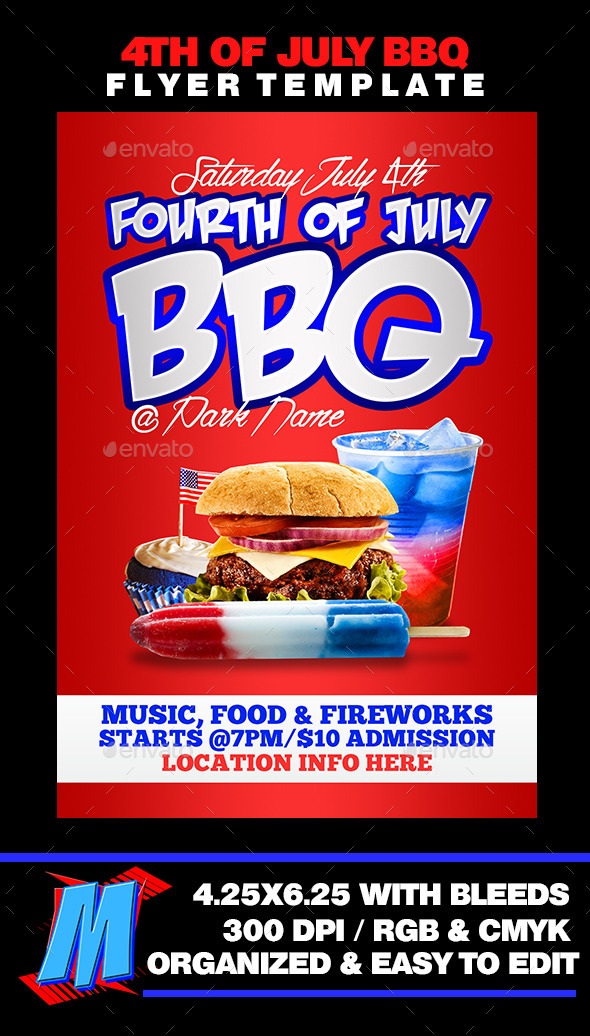 4th of July BBQ Flyer Template - Events Flyers