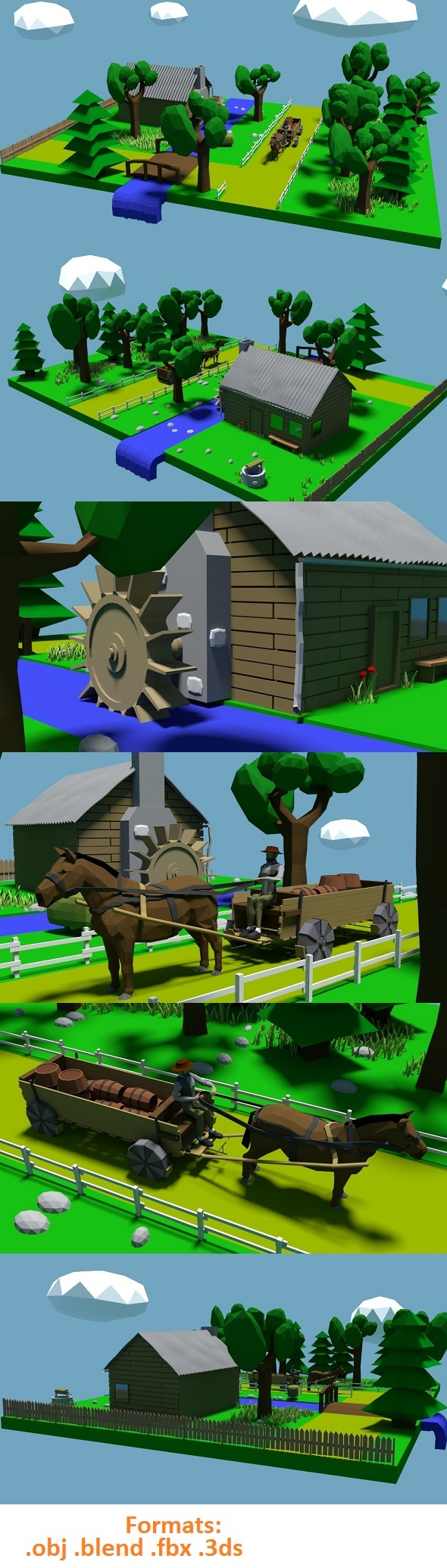 Low Poly River Mill - 3DOcean Item for Sale