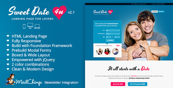 Sweet Date - Premium Landing Page for Lovers