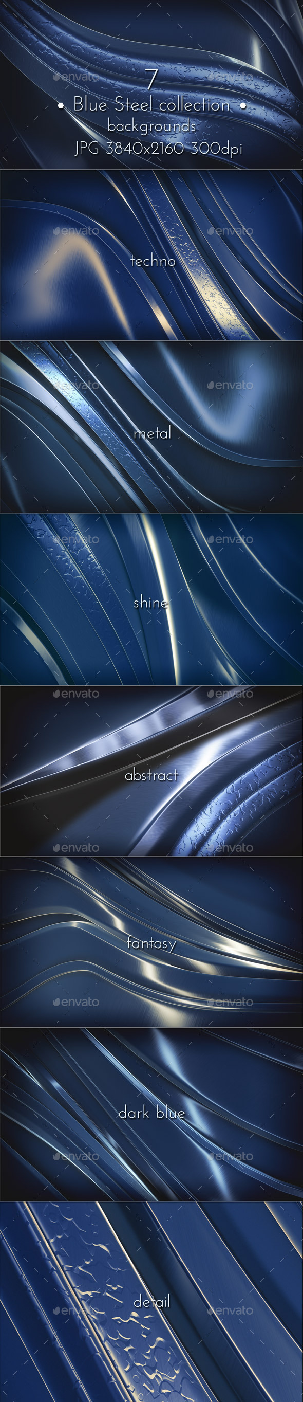 Dark Blue Steel Glossy Surface - Abstract Backgrounds