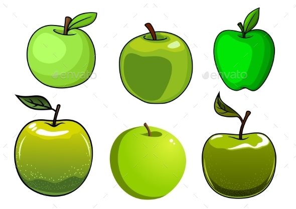 Fresh Green Apples Fruits Set - Food Objects
