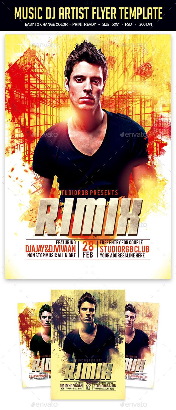 Music Dj Artist Flyer Template - Clubs & Parties Events