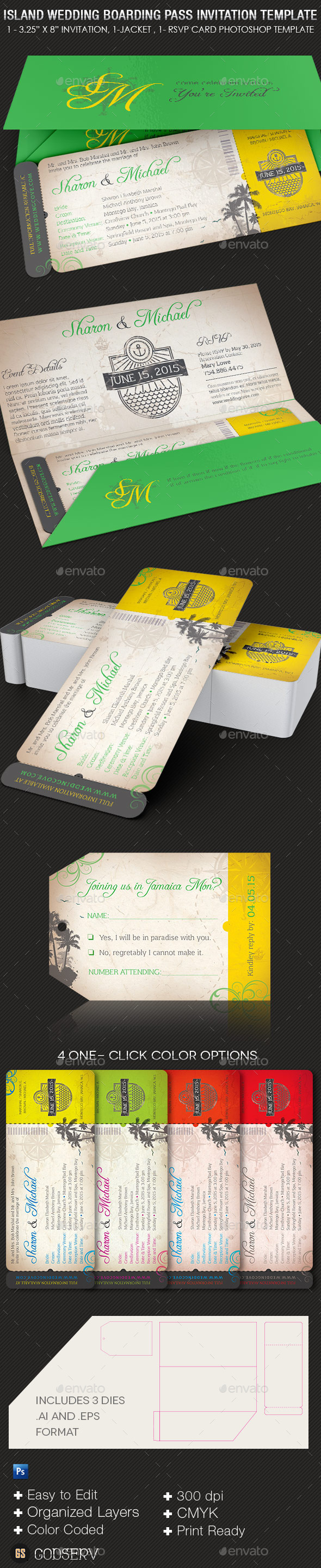 Island Wedding Boarding Pass Invitation Template - Weddings Cards & Invites