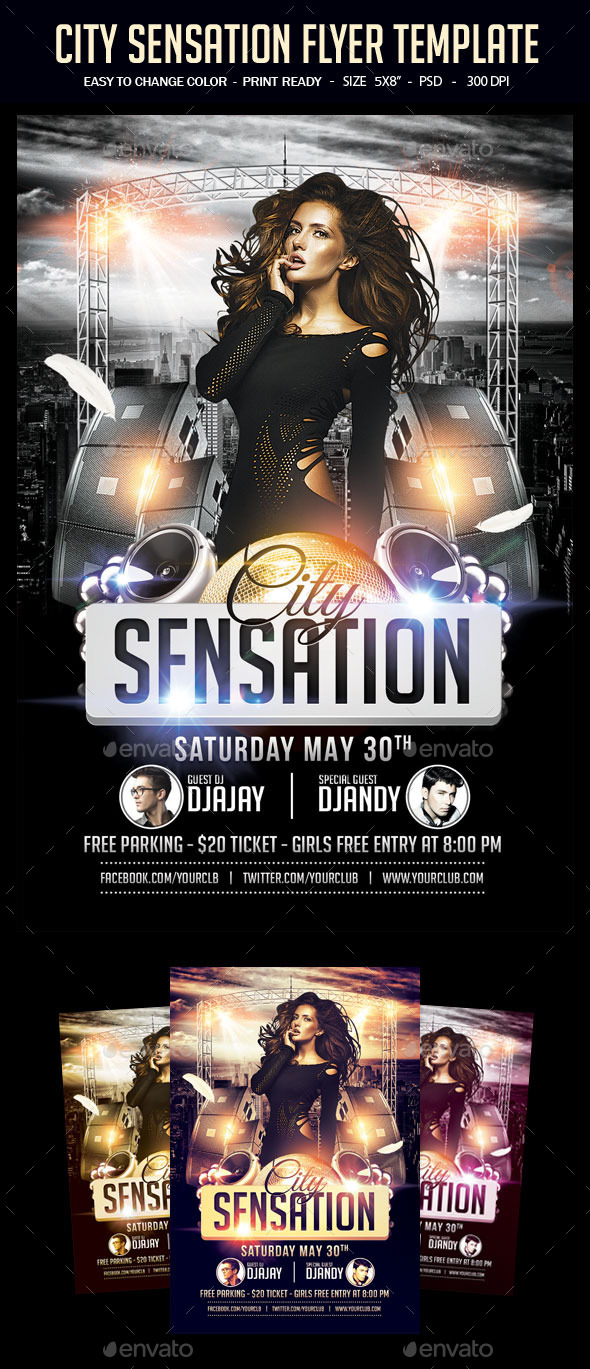 City Sensation Party Flyer Template - Clubs & Parties Events