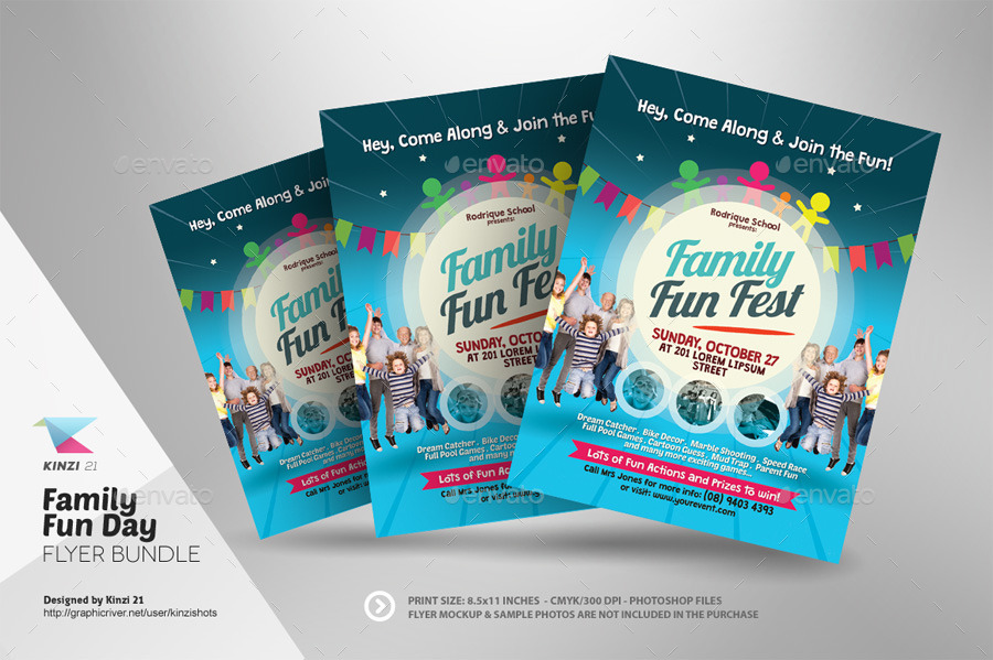 family fun day flyer bundle by kinzishots graphicriver. Black Bedroom Furniture Sets. Home Design Ideas