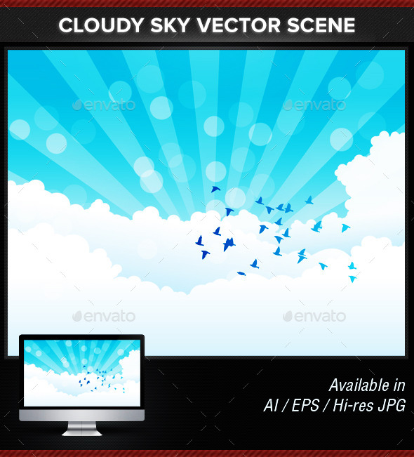 Cloudy Sky With Birds Scene Vector - Landscapes Nature