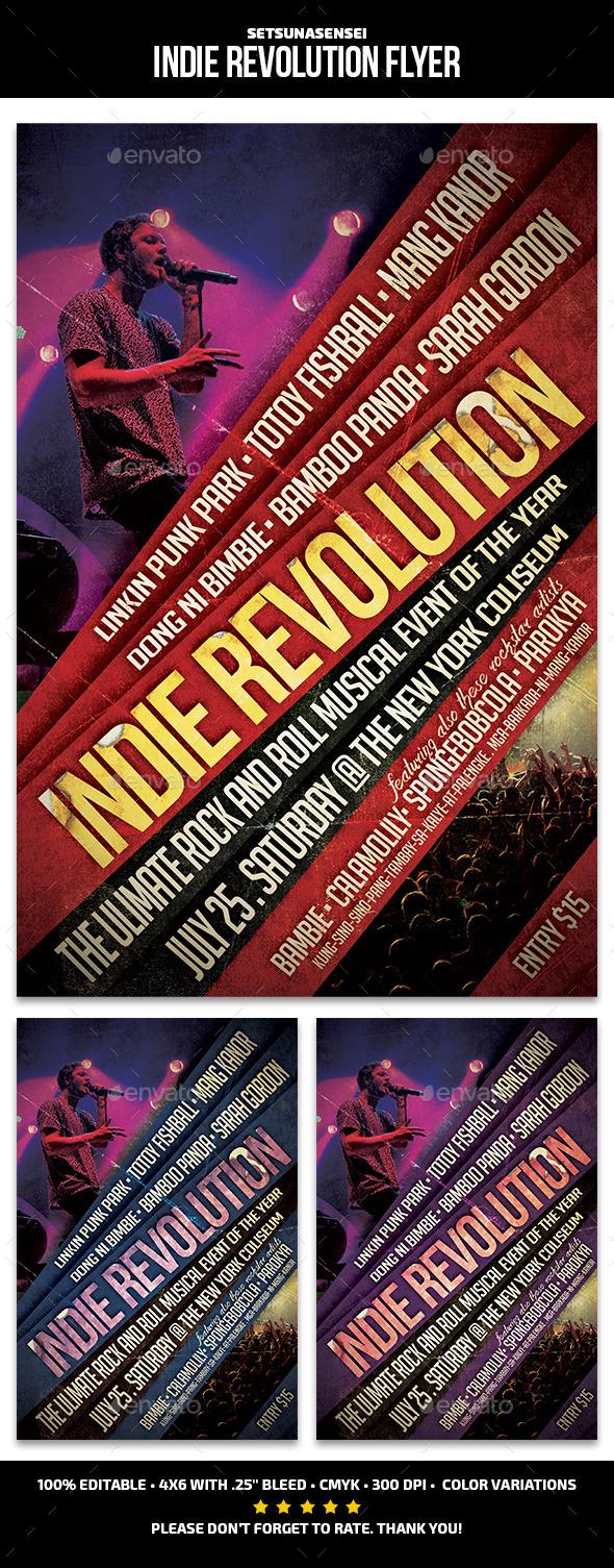 Indie Revolution Flyer - Concerts Events