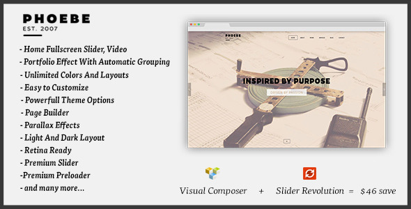 Phoebe – One Page Responsive WordPress Theme.