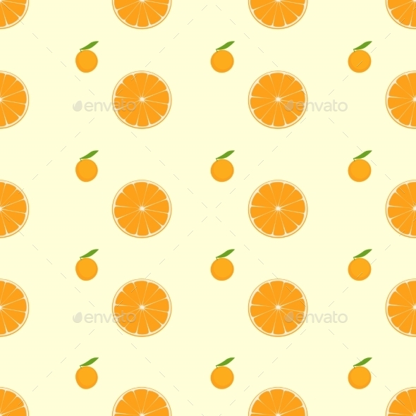Orange Citrus Fruit Slice Seamless Pattern Vector - Food Objects