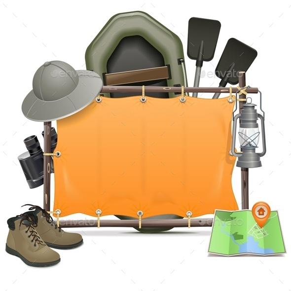 Vector Camping Frame - Travel Conceptual