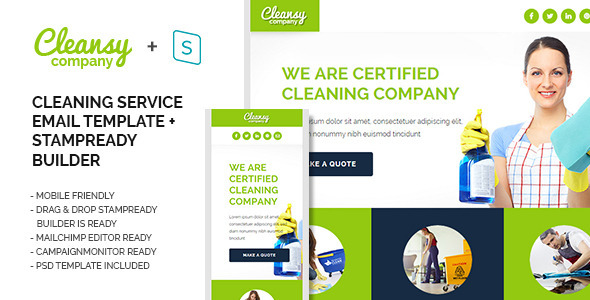Cleansy - Cleaning Service Purpose E-mail Template - Email Templates Marketing